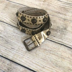 Gold Leather Metal Studded Belt Size L